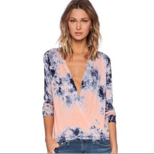 Young Fabulous & Broke Tie Dye Crossover Wrap Top